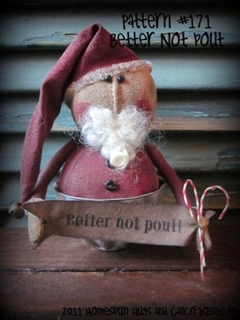 THIS IS NOT A FINISHED ITEM Primitive Santa PATTERN - Better Not Pout is by Homespun Hugs and Calico Kisses This little guy is only 5.5 inches tall and can fit in a tea cup. He is wonderful for craft shows also!! Primitive, cloth doll pattern, Santa pattern, Primitive Santa, small Santa, Better