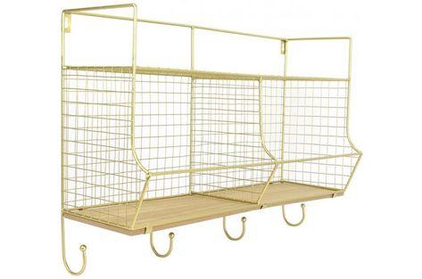 Etagere Murale Filaire Avec 2 Compartiments Et 4 Crochets En Metal Dore Larisa Design Sur Sofactory Mobilier De Salon Idees De Meubles Meuble Rangement