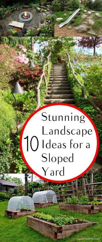16 Awesome Landscaping Ideas For Sloped Yard Photos Landscape In 2020 Sloped Garden Backyard Landscaping Designs Sloped Backyard