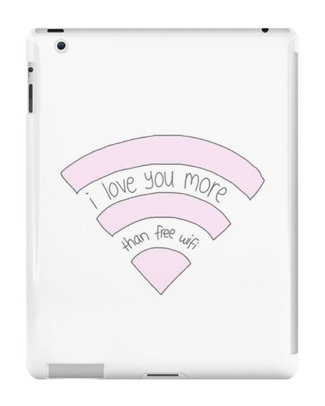 Our I Love You More Than Wifi iPad Case is available online now for just £9.99. Check out our super cute I Love You More Than Wifi iPad case, available for iPad, iPad Mini & iPad Air Material: Plastic, Production Method: Printed, Weight: 28g, Thickness: 12mm, Colour Sides: White, Compatible With: iPad 2 | iPad 3 | iPad 4 | iPad Air | iPad Mini | iPad Mini 2, Features: Slim fitting one-piece clip-on case that allows full access to all device ports. This iPad case is extremely durable, s