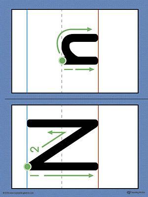 Alphabet Letter N Formation Card Printable (Color ...