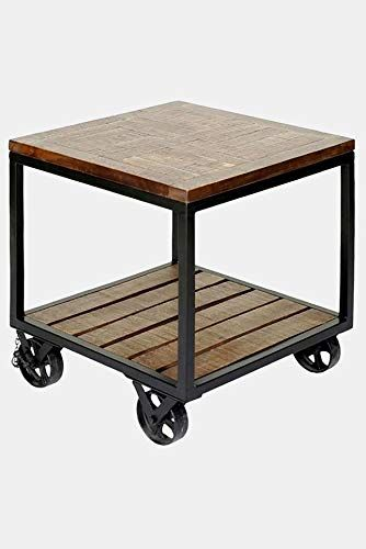 Metal Base End Table With Wheels End Table With Mango Wood Top