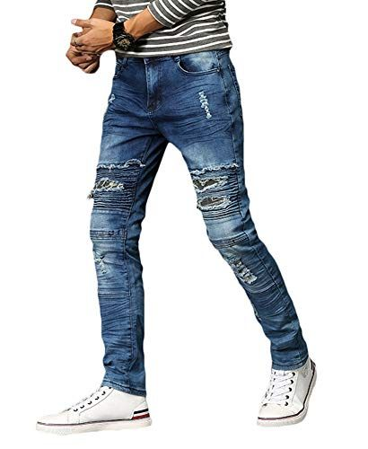 MEIKESEN Mens Blue Skinny Stretch Ripped Hole Slim Straight Fit Moto Biker Jeans with Camo Patches 32
