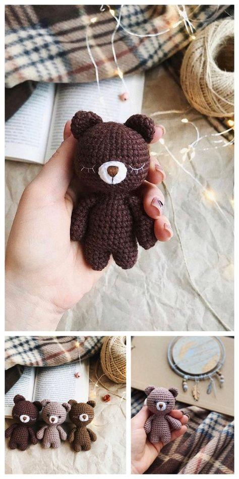 Amigurumi Plush Bear Free Pattern – Free Amigurumi Patterns - Famous Last Words Crochet Teddy, Cute Crochet, Crochet Crafts, Crochet Dolls, Yarn Crafts, Crochet Projects, Etsy Crafts, Crochet Bear Patterns, Amigurumi Patterns