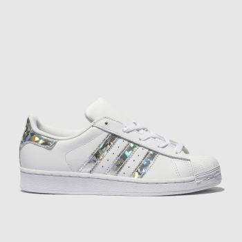 Adidas Superstar White Shiny Metallic Silver Glitter Kids Children Girls Boys