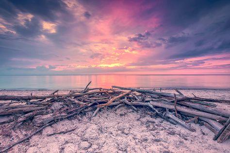 Fernweh am Weststrand (Prerow / Darß), Fischland, Küste, Ostsee, Prerow, Sonnenuntergang, Strand, Treibholz, Weststrand, Wolken