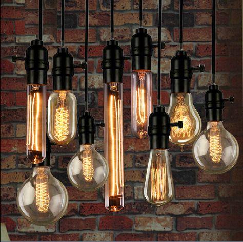 Vintage Loft Retro. Spiral Incandescent Light. Edison Bulbs. Pendant Lamps Lighting.