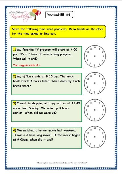 Grade 3 maths worksheets on Time Problems with answer key print - long multiplication worksheets