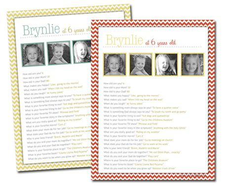 Birthday Questions Printables for Kids. Then put each year in a little scrapbook!