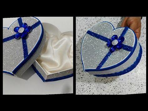 كيفية صنع علبة هدايا على شكل قلب بورق الفوم أعمال يدوية Diy Gift Box Youtube Diy Crafts For Gifts Paper Box Diy Craft From Waste Material