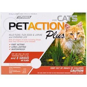 Pet Action Plus For Cats 3 Doses 0 017 Fl Oz Each Flea Treatment For Kittens Cat Fleas Fleas