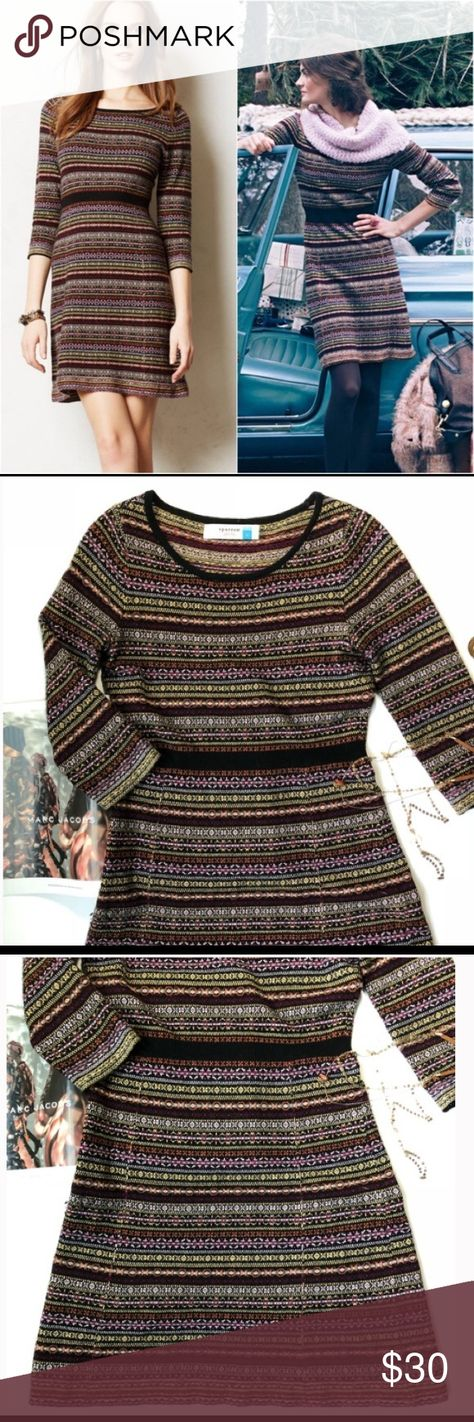 """[Anthropologie] Clara Sweater Dress Size S We love a piece that plays nice with layers. Cozy and effortless, Sparrow's fairisle sweater dress warms right up with textured tights and a slouchy boyfriend cardi.  By Sparrow Pullover styling Viscose, nylon, cotton, wool, angora, cashmere Hand wash  Measurements  Bust 17""""  Length 33""""  Hip 18""""  Sleeve 16"""" quarter sleeves Anthropologie Dresses Mini"""
