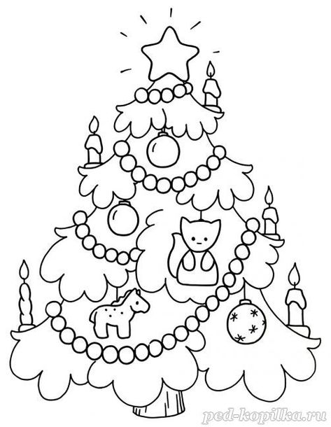 New Year Coloring Pages For Children Christmas Tree Coloring
