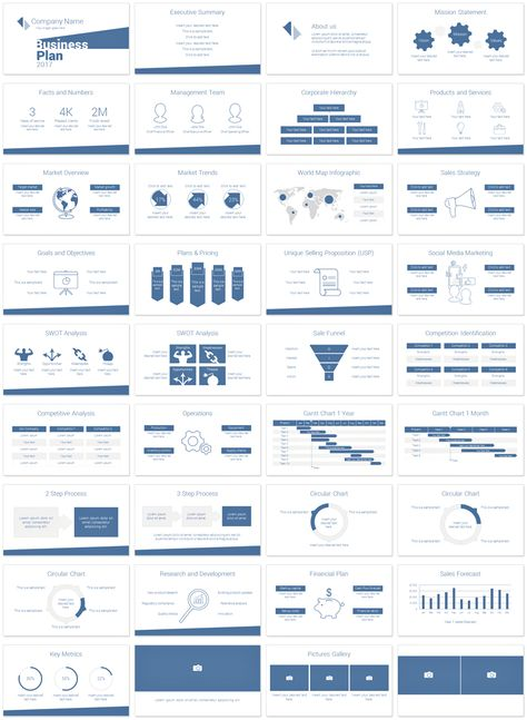 Clean and minimalist business plan PowerPoint template with 36 pre-designed slides. This is the perfect slide deck for your startup business presentation and it will resonate with your audience with a consistent and professional look and feel.