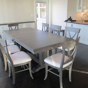 Dining Table In Maple With Driftwood Grey Stain Grey Dining Tables Grey Kitchen Table Kitchen Table Wood