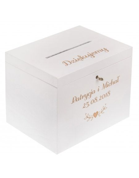 Personalised White Wedding Wooden Card Box With Slot Engraved