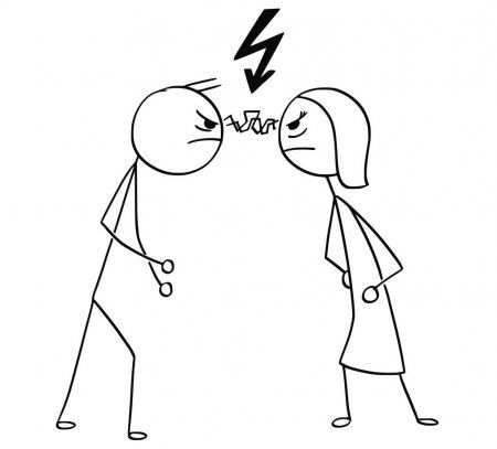 Vector Cartoon Of Man And Woman In Fight Anger With Lightning Bo Stock Affiliate Man Woman V Stick Figure Drawing Easy Doodle Art Stick Men Drawings
