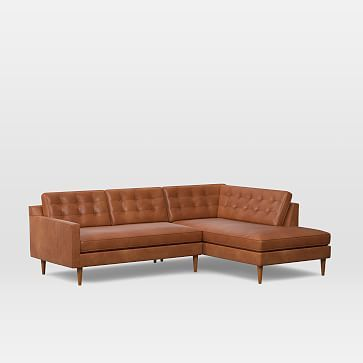 Drake Leather 2 Piece Terminal Chaise Sectional Leather Sectional Modern Sofa Sectional Sectional Sofa