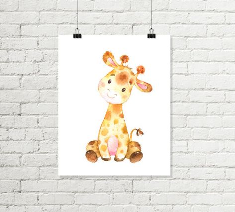 Sweet giraffe nursery print, dream big little one, printable wall art! An inspirational message to display in a nursery. A gender neutral print in yellows and browns. The text is deep brown. The giraffe with no text is also included as a choice. This listing is for an INSTANT