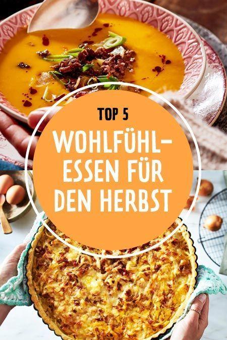 Wenn es im #Herbst dunkel und ungemütlich wird, kuscheln wir uns mit leckeren #Wohlfühlessen aus besten Saisonzutaten am liebsten zuhause ein. Ob #herzhaft oder #süß - hier kommen unsere 5 schönsten Rezepte zum Seele streicheln. #kürbissuppe #kürbis #curryrezepte #quiche #zwiebelkuchen #kaiserschmarrn #soulfood #herbstrezepte #herbstgerichte #suppen #eintöpfe #suppenrezepte #rezepte #rezeptideen #schnellerezepte
