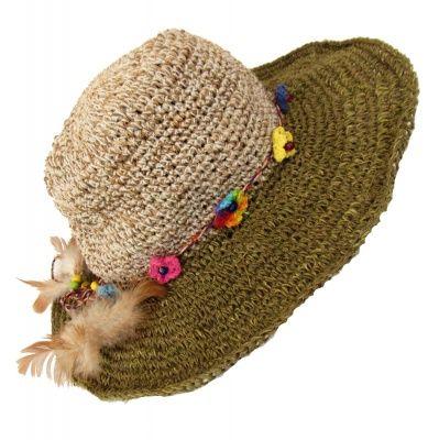 da04c6e5 Hemp wire brim flower and feather hat | Hemp hats