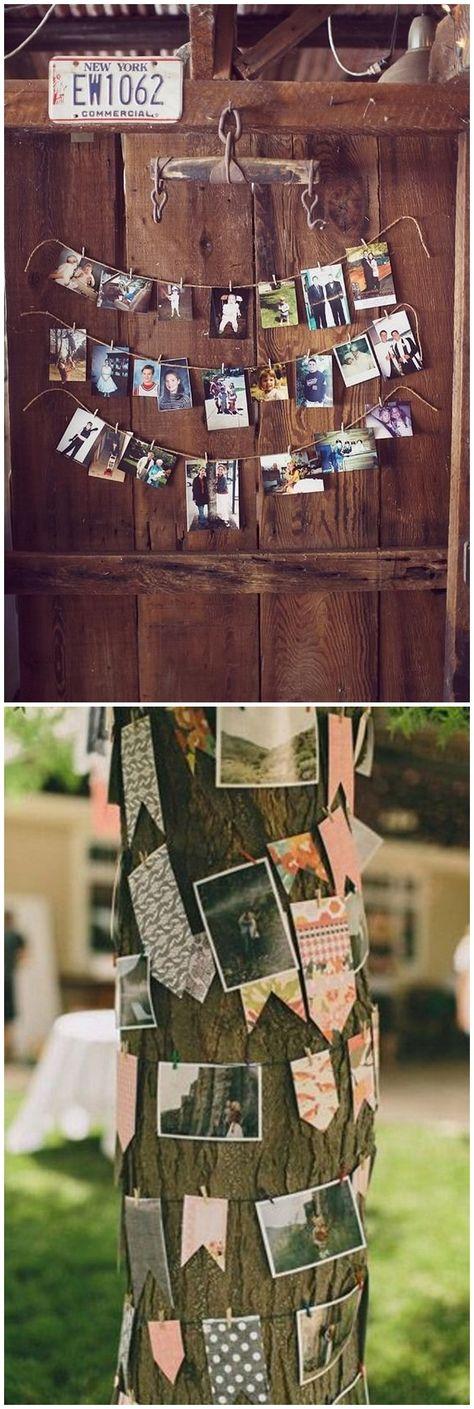 Amazing Ideas to Display Wedding Photos #rusticweddings #weddings #weddingideas #weddinginspiration