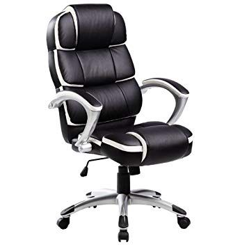 Oypla Luxury Designer Computer Office Chair Black With White