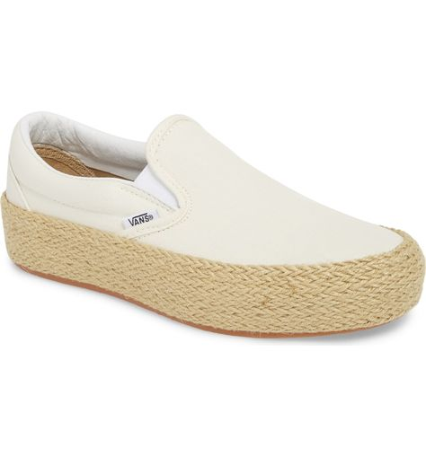 ef342e12b25009 Free shipping and returns on Vans Platform Slip-On Sneaker (Women) at  Nordstrom.com. A band of intricately braided jute wraps the platform of a  slip-on ...