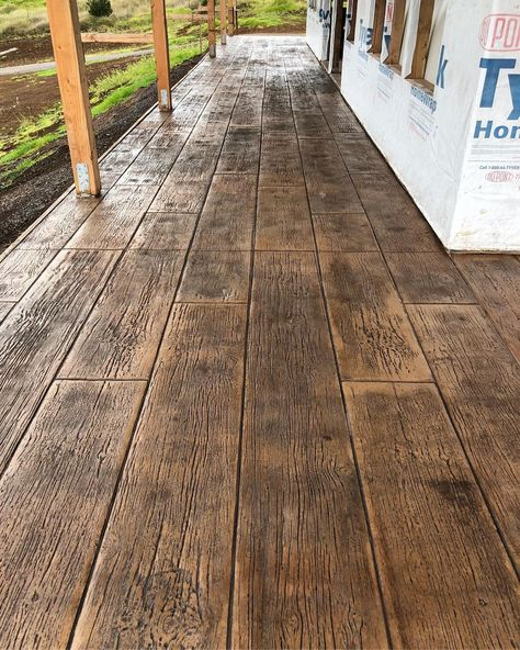 We are definitely doing stamped concrete Outdoor Concrete Stain, Wood Stamped Concrete, Concrete Porch, Concrete Floors, Plywood Floors, Concrete Countertops, Stained Concrete Patios, Stamped Concrete Designs, Concrete Stamping