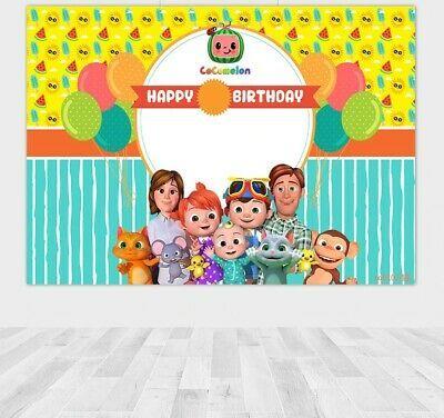 Cocomelon Family Backdrop Boys Birthday Party Baby Shower Photo Background Decor