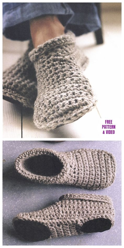 DIY Sturdy Crochet Slipper Boots Free Pattern from SMP Craft. (True Blue Me and You: DIYs for Creatives) : DIY Sturdy Crochet Slipper Boots Free Pattern from SMP Craft. I really like the look of these slippers…For more Free knitting ideas, head to ww Crochet Slipper Boots, Crochet Socks, Knit Or Crochet, Crochet Crafts, Crochet Clothes, Slipper Socks, Crochet Baby, How To Crochet Slippers, Diy Crochet Slippers