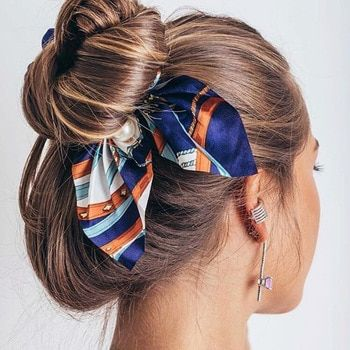 Girls Ponytail Holder Striped Hair Scrunchies Bowknots Holder Elastic Hair Bands