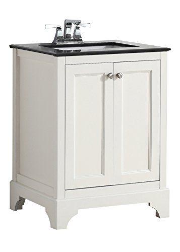 Simpli Home 4axcvcbw 24 Cambridge 24 Inch Transitional Bath Vanity In Soft White With Black Granite Top Single Sink Bathroom Vanity Granite Vanity Tops Vanity