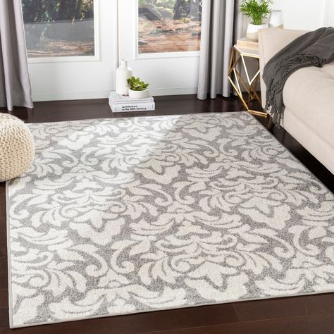 Matthei Grey Transitional Damask Area Rug 7 10 X 10 3 7 10 X 10 3 Grey White Gray Area Rugs Rugs Trending Decor