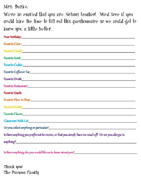 Questionnaire For Getting To Know Your ChildS Teacher Would