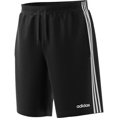 "Adidas Men/'s Fleece Shorts Size XL Black White Essential 3 Stripe 10/"" Inseam New"
