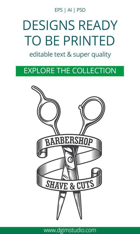 Monochrome Vintage Barber Shop Logo Template. Super quality & Editable text! CLICK ON THE LINK and find more Barbershop logo templates and designs!#barber #barbershop#scissors#barberchair #blade#vectorillustration#vector#illustration#design #tshirt#download#logotemplate #dgimstudio#logo #dgimstudio