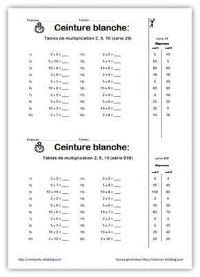 Cm Mathematiques Ceintures De Competences Tables De Multiplication