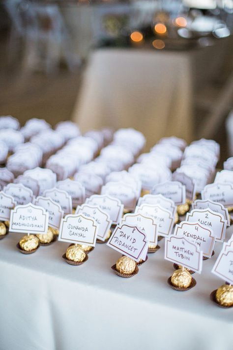 wedding escort cards on ferrero rocher chocolate