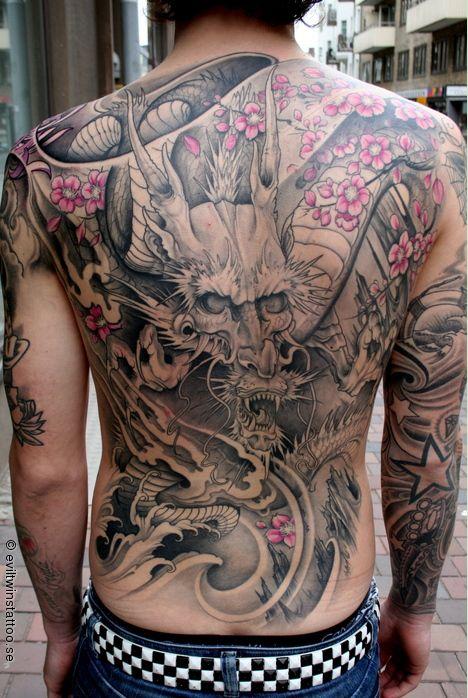 Full back tattoo - dragon