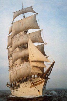 Three-Masted Art Print on Canvas Poland Full-Rigged Ship Dar Pomorza