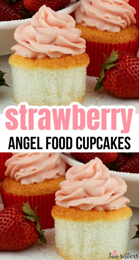 Strawberry Frosting, Strawberry Cupcakes, Strawberry Desserts, Köstliche Desserts, Delicious Desserts, Dessert Recipes, Cupcakes With Strawberries, Recipes Dinner, Angel Food Cupcakes