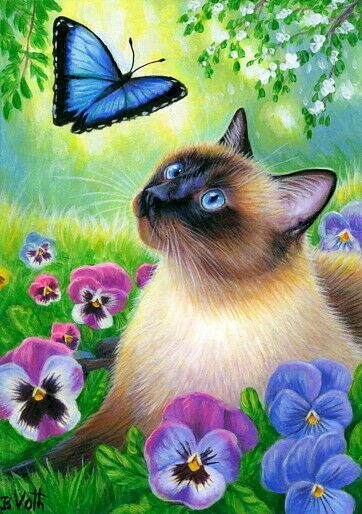 Details about ORIGINAL ACEO RYTA BLACK CAT PAINTING MINIATURE SPRING FARM GARDEN WHIMSICAL ART - Siamese Cat - Ideas of Siamese Cat #SiameseCat -  ACEO original siamese cat blue butterfly pansy spring garden painting art | eBay  The post Details about ORIGINAL ACEO RYTA BLACK CAT PAINTING MINIATURE SPRING FARM GARDEN WHIMSICAL ART appeared first on Cat Gig.