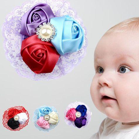 0.99 - 1Pc Lovely Cute Baby Girls Boys Hair Band Rose Pearl Diamond Lace Baby  Headband  ebay  Fashion 97b8bc7d912