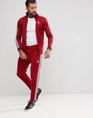 82f11e710e adidas Originals adicolor Beckenbauer Skinny Tracksuit in Burgundy ...