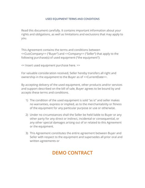 How To Write Your Own Sale Of Used Equipment Terms And Conditions