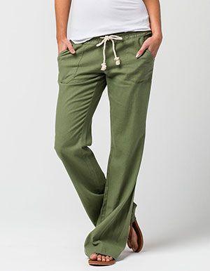 ROXY Oceanside Beach Womens Pants Green