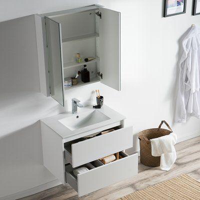 Oquendo 30 Wall Mounted Single Bathroom Vanity Set With Mirror Single Bathroom Vanity Vanity Set With Mirror Vanity Set