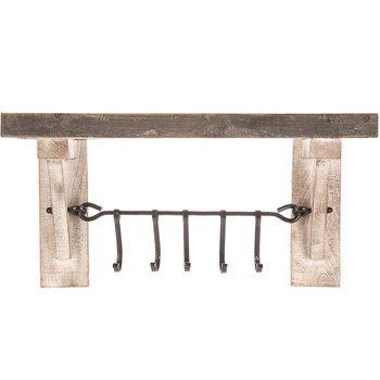 Walnut Wooden Wall Shelf With Hangers Coat Racks With Brass Etsy Wooden Wall Shelves Wall Shelves Shelves