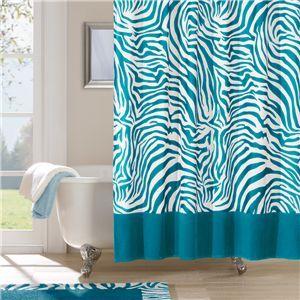 Blue Zebra Print Aqua Blue Shower Curtain Turquoise Home Decor